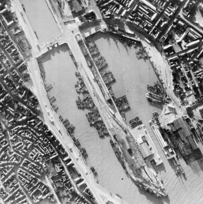 German invasion barges being assembled in Boulogne, France